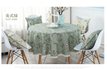 Green linen flower fabric dining garden tablecloth BEAUTY Multisize floral vintage LACE cotton table cover natural