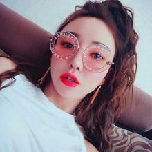 CURTAIN Okulary Trend New Women's Round Sunglasses Frame Bee