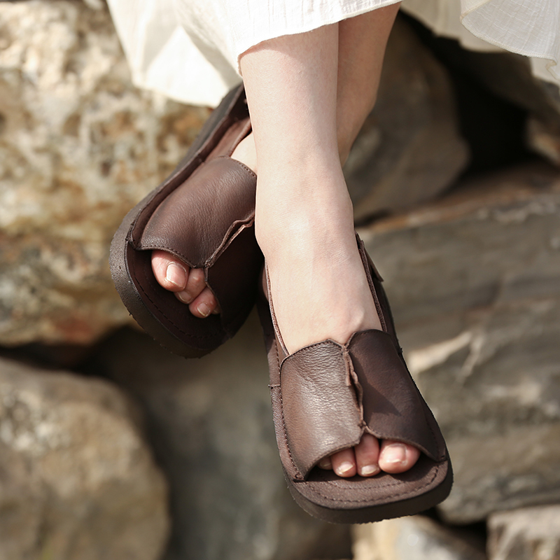 Women Leather Sandals Low Heels Summer Shoes Genuine Leather Sandals For Women Coffee Soft Bottom Retro