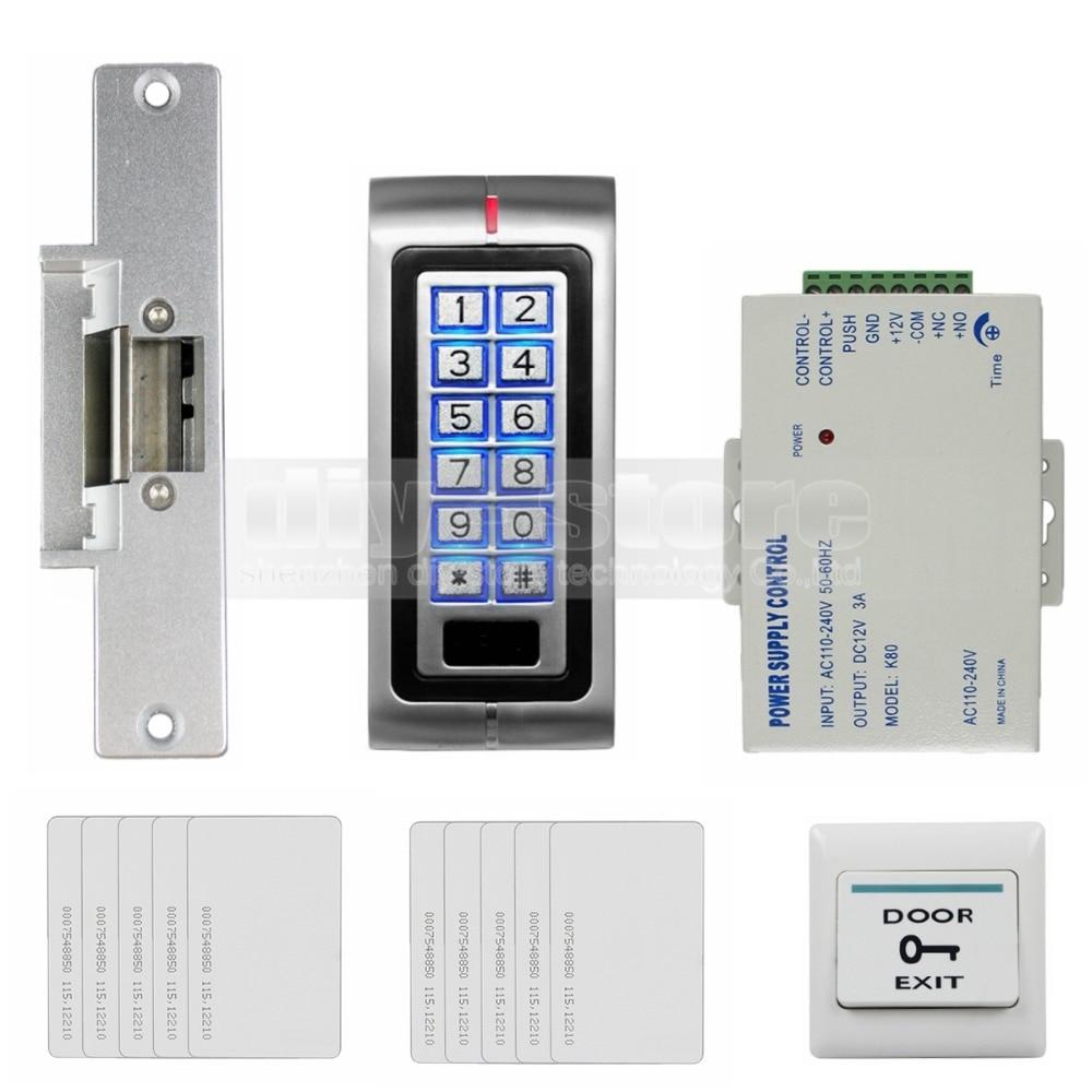 DIYSECUR 125KHz RFID Password Keypad Access Control System Security Kit + Electric Strike Lock + Exit Button K2