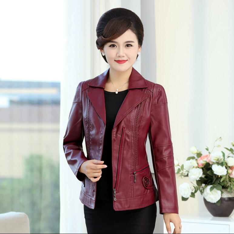 Plus Size 6XL Spring autumn   Leather   Jacket Women Chaqueta Mujer Middle Aged PU   Leather   Jacket Motorcycle Jacket Coat r1341