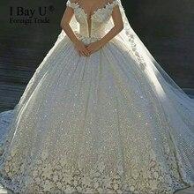 Luksusowe cekiny koronkowe suknie ślubne 2020 3D kwiat Ivory Shiny suknia balowa obszywana koralikami suknie ślubne sukienka dubaj Vestidos De Novia