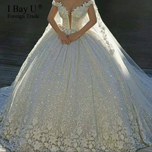 Luxury Sequins Lace Wedding Dresses 2020 3D Flower Ivory Shiny Beading Ball Gown Bridal Gowns Dress Dubai Vestidos De Novia