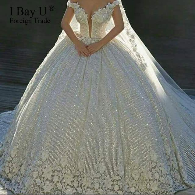 Luxury Sequins Lace Wedding Dresses 2020 3D Flower Ivory Shiny Beading Ball Gown Bridal Gowns Dress Dubai Vestidos De Novia