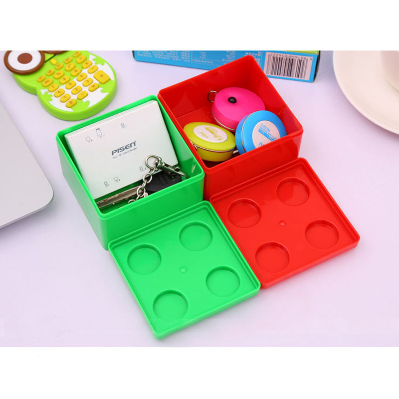 Tableware Storage Box Building Blocks Can Superimposed Desktop Square Organzior Sundries Plastic Cosmetic Candy Box Toy For Kid