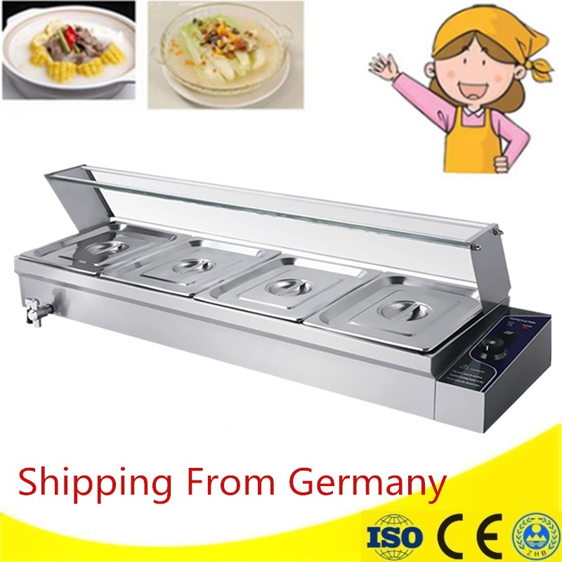 Electric Buffet Tool with 4 Pans  Bain Marie Food Warmer Restaurant Commercial Countertop Warming Tray