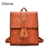 Glorria Vintage Leather Women Backpack Tassel School Bag Backpacks For Teenager Girl Large Capacity Female Backpack