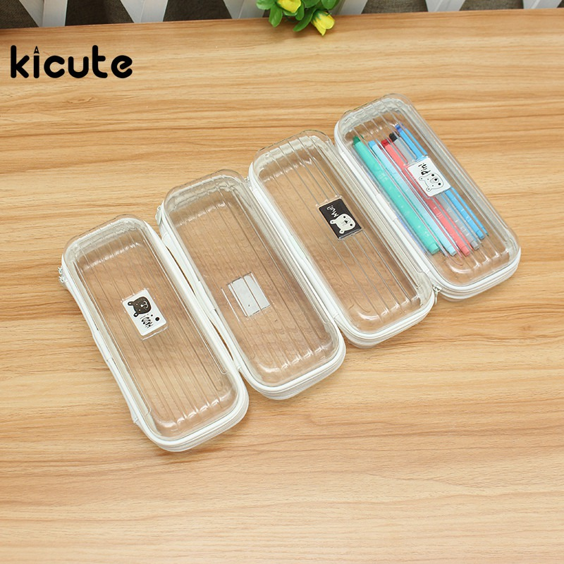 Kicute 1pc Large Capacity Plastic Transparent Pencil Case Pen Holder Pencil Bag Storage Stationery Pouch Gift School Supplies mini s size pencil bag pencil case pen stationery storage art school office home supplies transparent pens holder fashion gifts