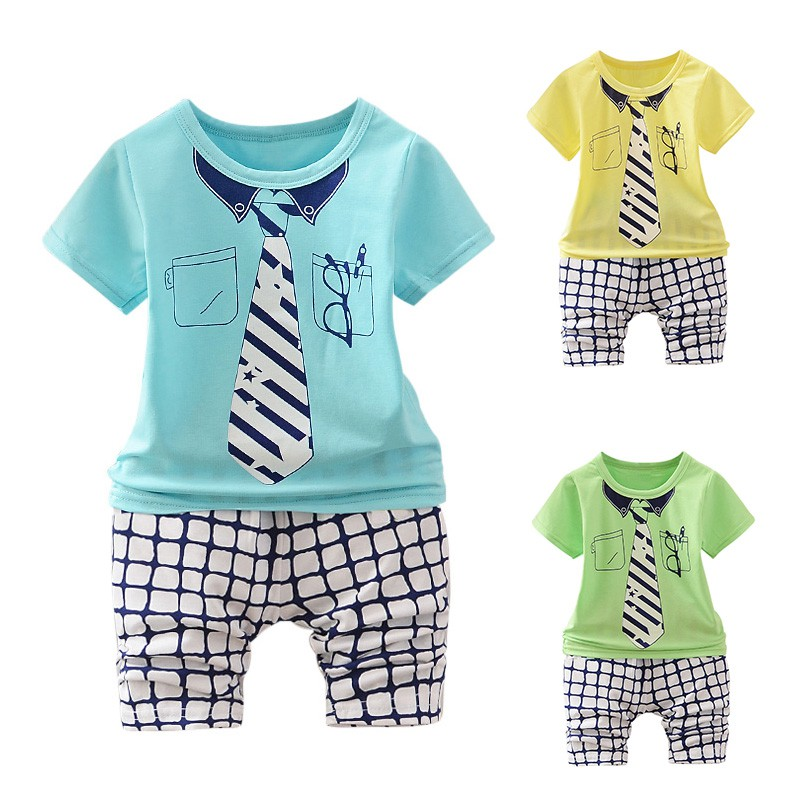 Baby Boy Clothes Summer Newborn Baby Boy Clothes Set Stars Stripes False Tie Printing T shirt Plaid Baby Shorts Baby Sets