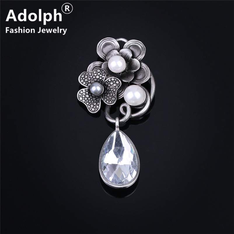 ADOLPH Star Jewelry Vintage Simulated Pearl Drop Flower Brooch Pins Woman Clothers Dress Bride Broochs Fashion Accessories New