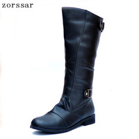 {Zorssar} 2018 High Quality Pu Leather Men high Boots Black Military Boots Tactical Boots Knee High boots Men Shoes winter