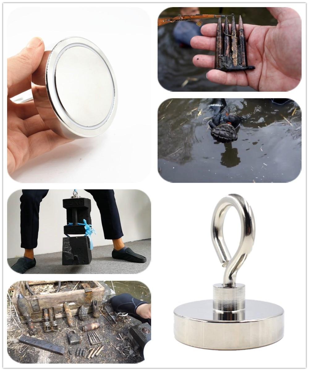 Купить с кэшбэком D75mm strong powerful round neodymium Magnet hook salvage magnet sea  Fishing equipments Holder Pulling Mounting Pot with ring