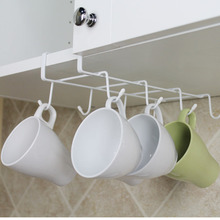8 Hooks Metal Mug Tea Cup Storage Rack Holder Kitchen Under Worktop Shelf Cup Storage Hook