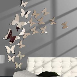 Hot 24pcs Mirror Wall Sticker Decal Butterflies 3D Mirror Wall Art Party Wedding Home Decors Butterfly fridge Wall Decal On Sale