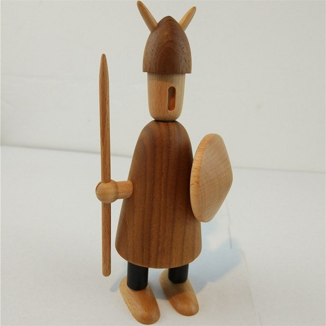 Us 590 Home Decoration Danish Figurine Puppet Doll Vikings Abc Puppet Carving Solid Wooden Oranments Creative Giftfree Shipping In Figurines