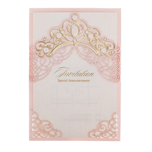 Image 2 - [Princess Dream] 20Pcs/Lot Pink & Red Foil Crown Laser Cut Wedding Invitation, Invitation Card with Envelopes for Quinceanera