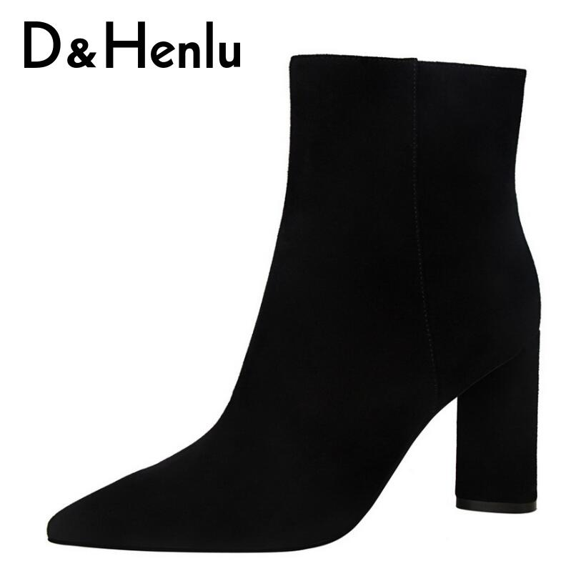 {D&Henlu} 2018 Autumn Basic Boots Women Shoes Woman High Heel Ankle Boot Pointed Toe Square Heel Winter Short Boots Zipper Solid cow leather pointed toe square heel zipper spring autumn boots 2017 new arrival elastic band high top women ankle boot zy170917