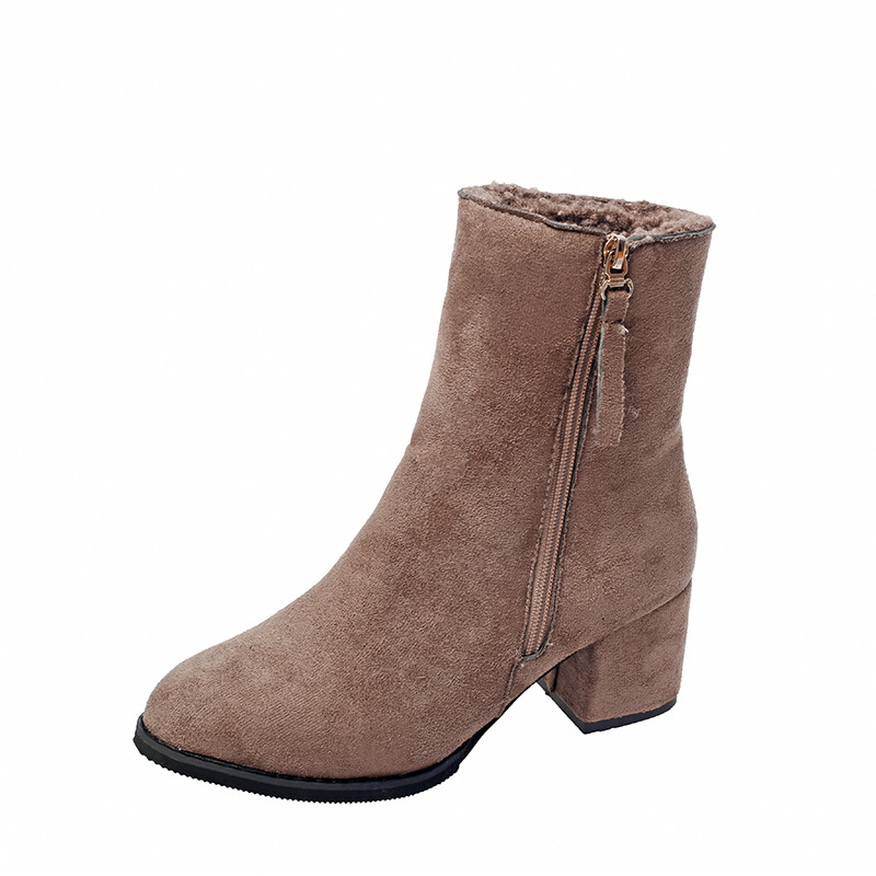 Short Boots 2018 Winter New Thick Heel with Middle Heel Martin Boots Women's Suede Zipper Plain Color Fashion Women's Boots