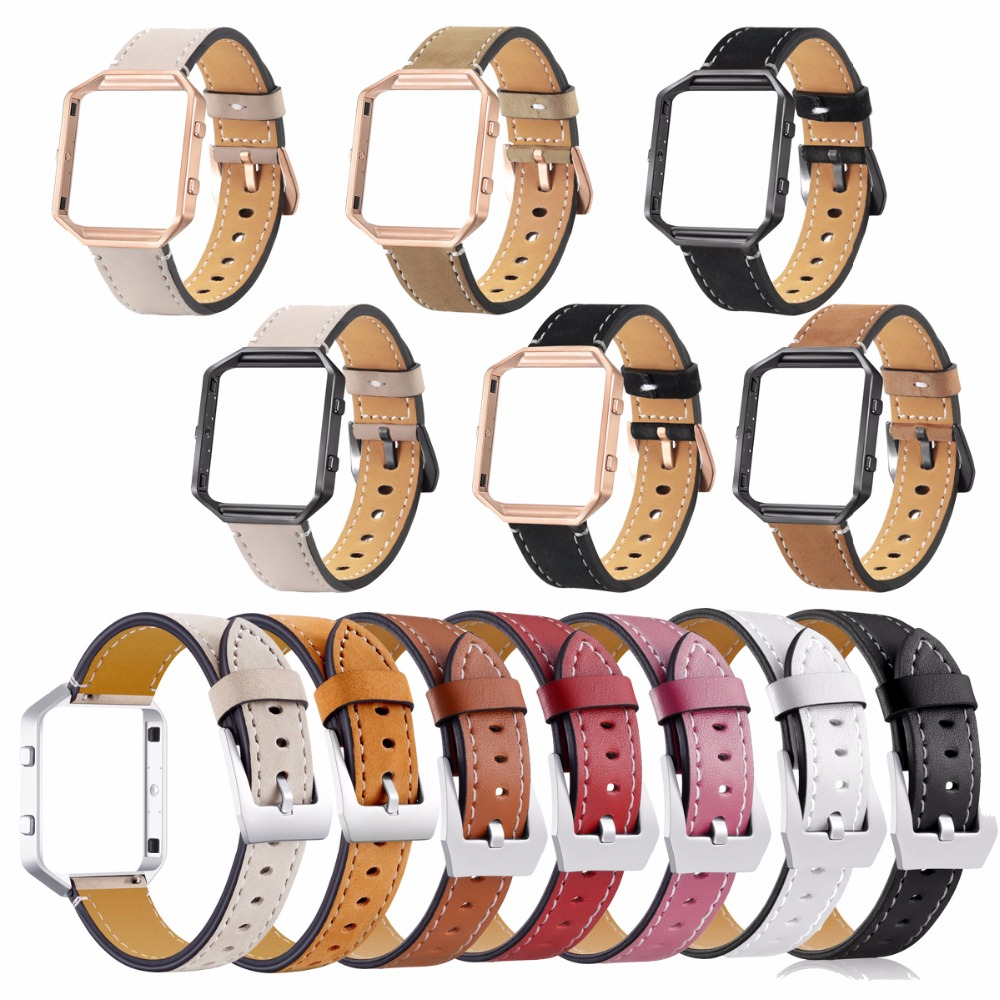 Genuine Leather Watch Band For Fitbit Blaze Replacement Band +Meatal Frame House Wrsit Band for Fitbit Blaze Smart Watch Band
