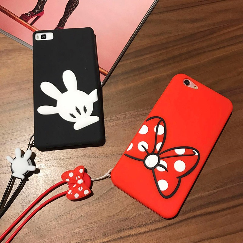 RHOADA 3D Minnie Mickey Mouse Shockproof Phone Back Case For Huawei P8 Lite P9 Plus P10 Lite Mate 7 8 9 Soft Silicon Couqe Cover