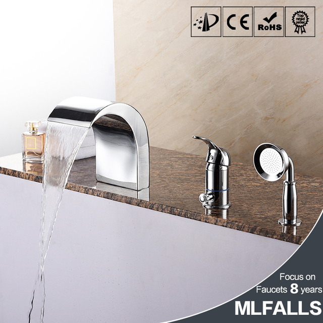 Waterfall Bathtub Faucet Copper Chrome Body Suit Five Holes With Three Piece Bathroom Shower