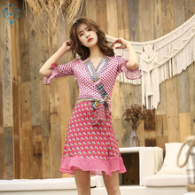 Ameision summer women luxury 2019 sexy deep v neck three quarter sleeve tie bow belt mid calf ruffle dress print runway dresses