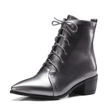 Women Pointed Lacing Chunky Ankle Boots Motorcycle Boots Woman Autumn Patent Martin Boots Large Size 35-43 Shoes
