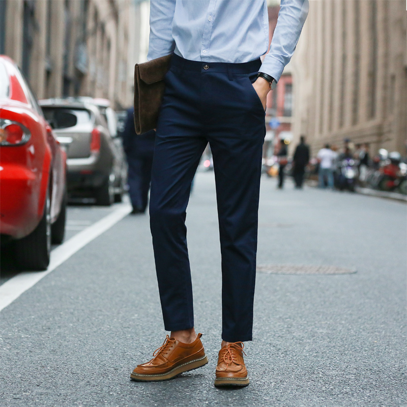 2017 Hot Sell Suit Pants Men Male Fashion Youth Leisure Time Trousers Pure Color Zipper Casual Work Business Dress Free Shipping