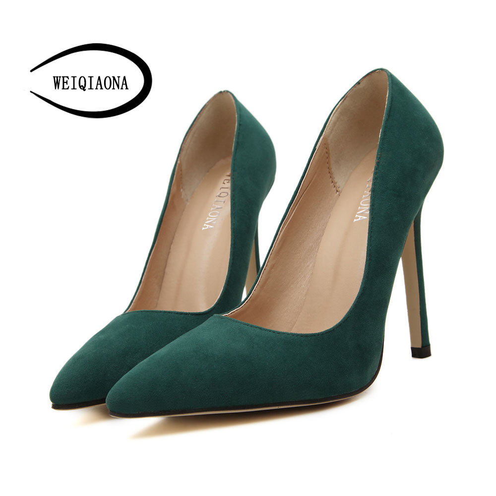 spring women pumps suede high-heeled shoes pointed toe High Heels women shoes thin heel Wedding Shoes Lady shoes slip on Sapatos купить
