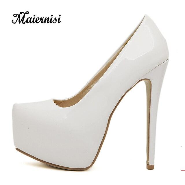 b082c83ca3 MAIERNISI Leather Women Pumps High Heels Platform Open Toe Women Office  Shoes Elegant Ladies Pumps Plus Size 35-44 Heel Shoe