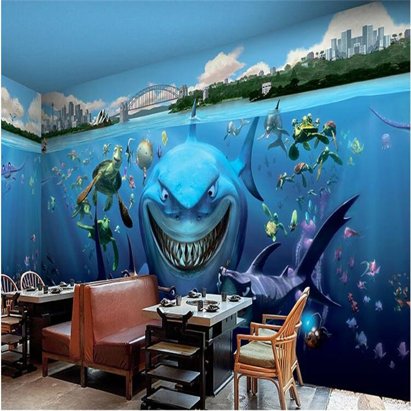 beibehang paper photography underwater world of cartoon shark restaurant kindergarten childrens room 3d wall mural wallpaper - Underwater World Restaurant