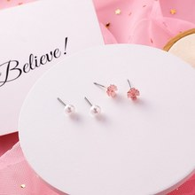 4Pcs/set Simulated Pearls Earring Flower Ear Jewelry Sweet Stud Earrings For Girl Temperament Boucles D'oreilles Cute Brincos(China)
