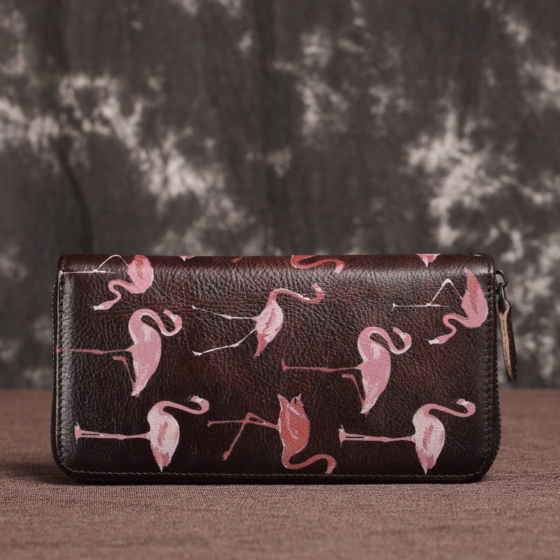 New Genuine Leather Woman Wallet Handmade Long Purse Vintage Solid Cowhide multiple Card Holder Retro Clutch Standard Wallet