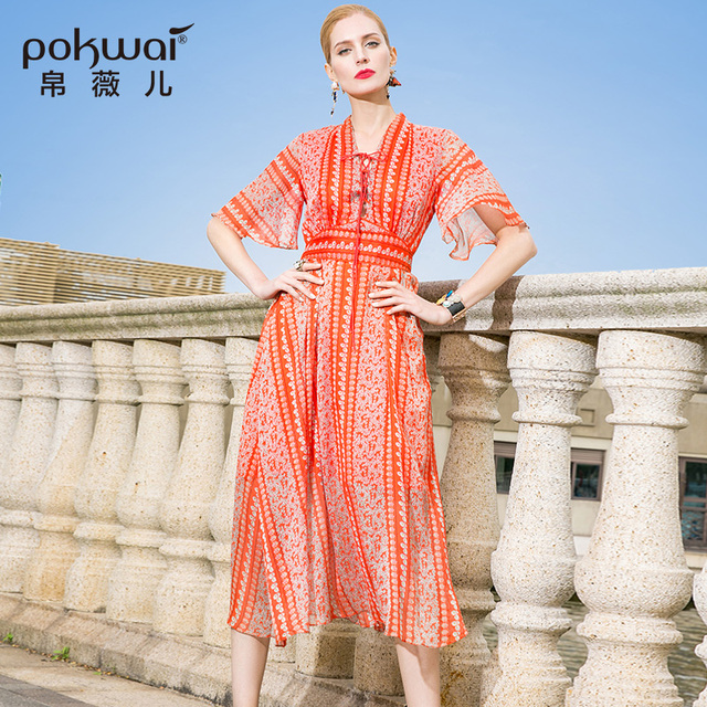 POKWAI Casual Summer Dress Women Fashion High Quality 2017 New Sexy V-Neck Butterfly Sleeve Draped Print Asymmetrical Dresses