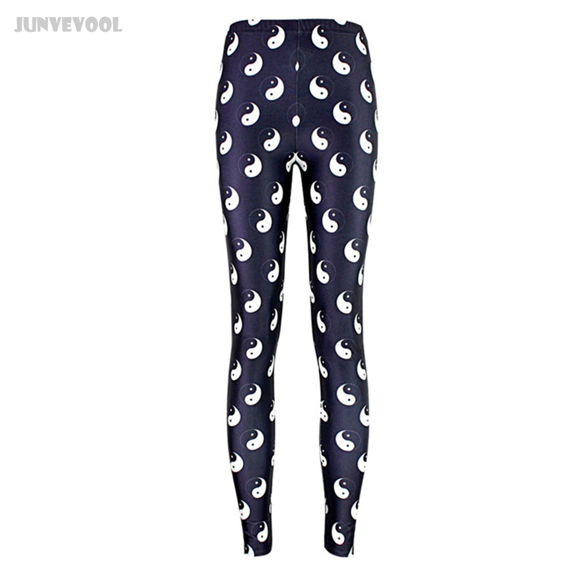 Sexy Pants Lady High Waist Stretch Leggings Womens Shiny Wet Look Skinny Slim Pant Tai Chi Gossip Printed Black White Color Mix