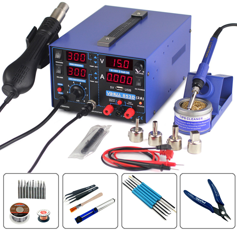 YIHUA 853D 2A 3 in 1 Digital Welding Machines Hot Air Gun Solder Iron Repair Soldering Station BGA Rework Heat Gun Desoldering saike 858 hot air gun rework station heat gun desoldering station