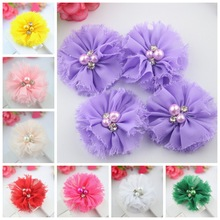 30pcs/lot  5.5CM Shabby Chic Chiffon Flower Flat Back Ballerina Flower Sewn WITH Rhinestone Pearl  Rosettes Rose Flower
