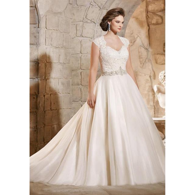 2016 Vintage Lace Plus Size Wedding Dresses With Short Cap Sleeve A Line Bodice Liques Sheer