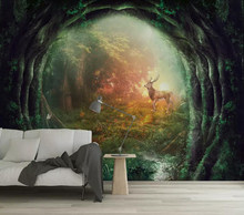 Decorative wallpaper Artistic conception milu deer forest background wall(China)