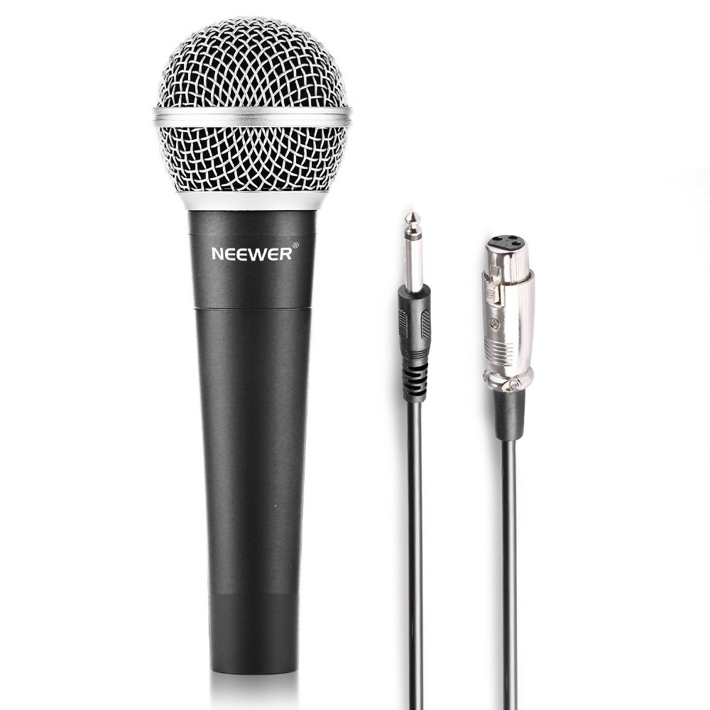 Neewer Zinc Alloy Black Professional Moving Coil Handheld Dynamic Microphone For Kareoke,Stage,Home Studio Recording With Cable