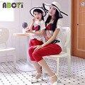 Combinação de roupas família Set 2015 mãe filha roupas de menina 3D impresso Chiffon blusa e calças de algodão A6027