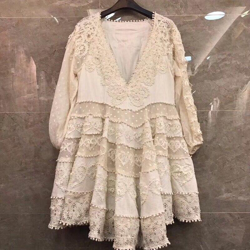 L'europe Haute 2018 D'été Qualité Coton Profond Découpe Robe Mini V Femmes Col De Tunique Sexy Designer Broderie Évider Robes 8qqdg