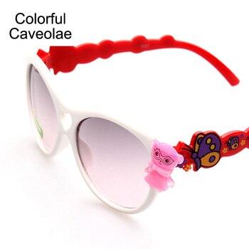 Colorful Caveolae Fashion Girls Sunglasses Cute Cartoon Children Glasses Brand Butterfly Designer Sun Glasses For kids