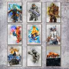 Купить с кэшбэком PUBG The Legend Of Zelda Red Dead Redemption Halo Poster And Prints Wall Art Canvas Painting Wall Pictures For Living Room Decor