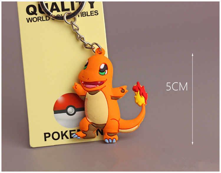 3d figura dos desenhos animados pokemon eevee chaveiro macio silicone bolso monstros charizard chaveiro crianças porta-chaves trinket presente