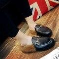 Красный Мода Женщин Реального Меховой Обуви Натуральной Кожи Женские Тапочки квартиры Женские Повседневная Поскользнуться На Loafer Квартиры Для Женщин Уютный обувь