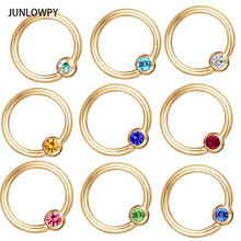 JUNLOWPY Piercing Nose Stainless Crystal Captive Hoop Septum Click Segment Eyebrow Lip Rings Tragus Circle Nose Body Jewelry(China)