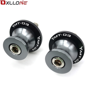 Image 3 - CNC Aluminum Motorcycle Accessories Swingarm Spools Slider 6mm Swing arm Stand Screws With LOGO For YAMAHA MT03 MT 03 MT 03