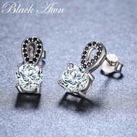 New Arrival 100% Genuine 925 Sterling Silver Jewelry Black Spinel Stone  Cute Party Stud Earrings for Women Bijoux Femme I096