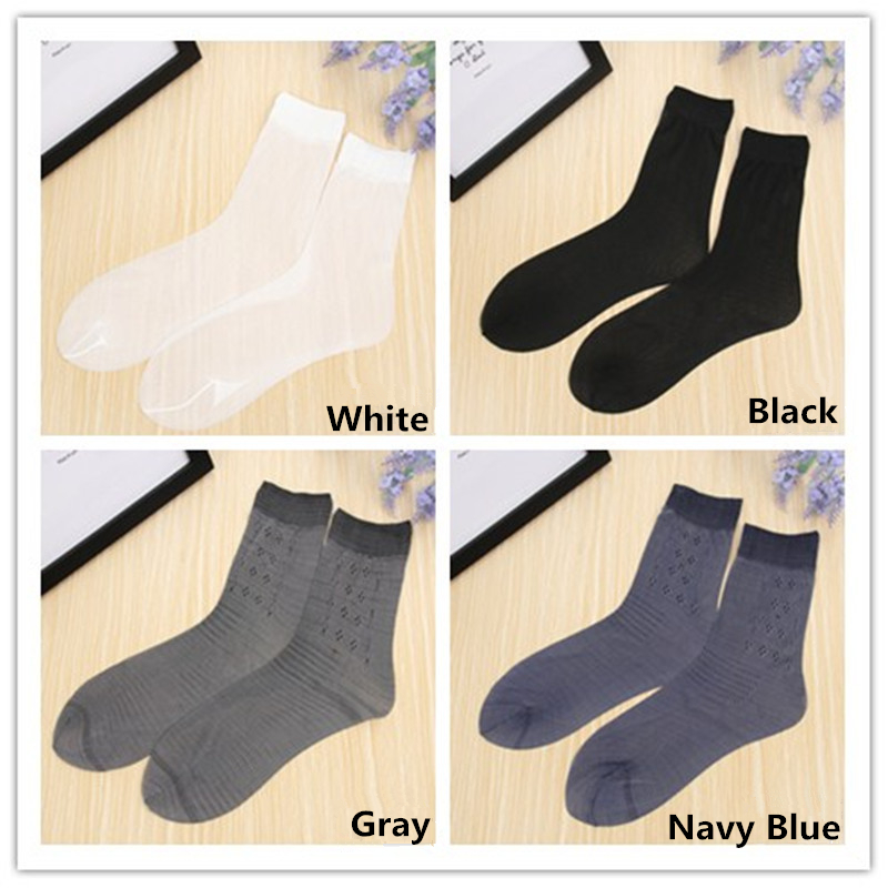 5 Pair Summer Cool Socks Men 4 color Thin Silk Tube Socks Man For Business White Casual Short Dress Socks Male cheap Meia sokken